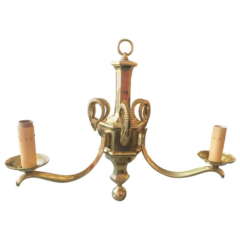 Brass Gazelle Chandelier by Chapman