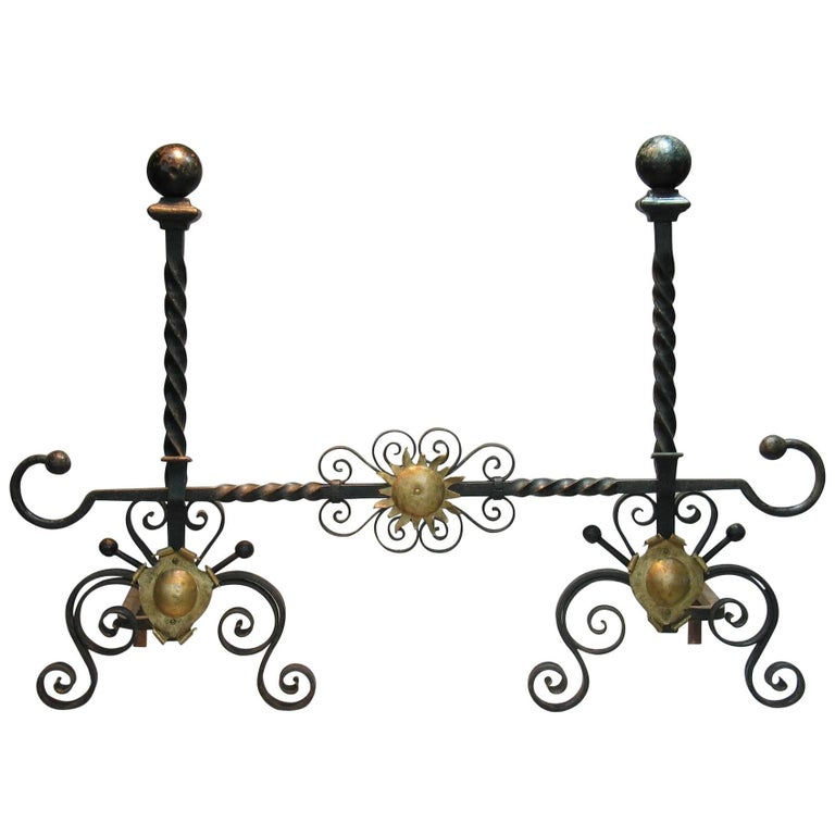 Pair of Large Cannonball Top Wrought Iron Andirons, 19th Century