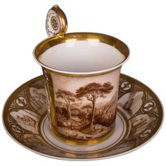 Historic Biedermeier Collection Cup and Saucer Veduta View Gold Painting