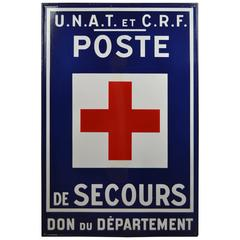 1960s, Porcelain Enamel Sign First Aid