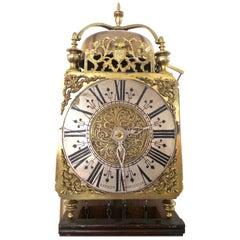 1801 English Brass Lantern Striking Wall Clock & Oak Bracket-Barber of Worcester
