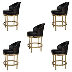 Five Barstools Leather and Brass with Swivel Seats
