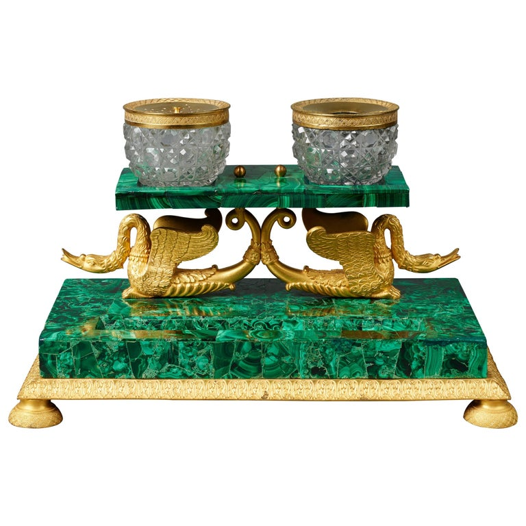 Early 19th Century Russian Empire Malachite and Ormolu Inkstand Encrier Swans For Sale