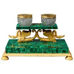 Early 19th Century Russian Empire Malachite and Ormolu Inkstand Encrier Swans
