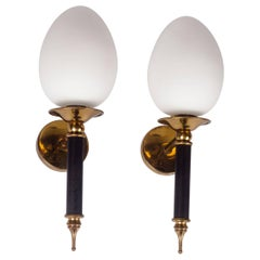 Pair of Arlus Sconces, Brass and Milk Glass, France, 1950s