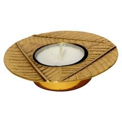 Cast Brass Leaf Tealight Holder