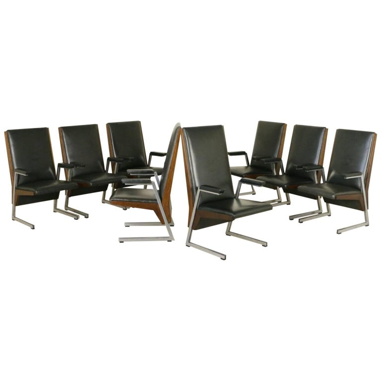 Eight Chairs with Armrests Stained Beech Foam Leatherette Metal, Italy, 1960s
