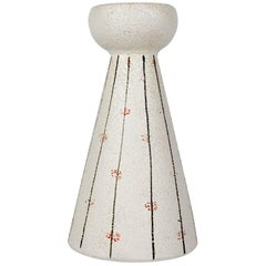 White Pottery Candleholder Made in Italy for Raymor, 1960s