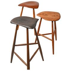 Wharton Esherick Rare Set of Three Carved Stools or Side Tables