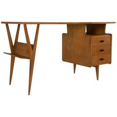 Extraordinary Ashwood Desk after Ico Parisi, Italy, 1950s