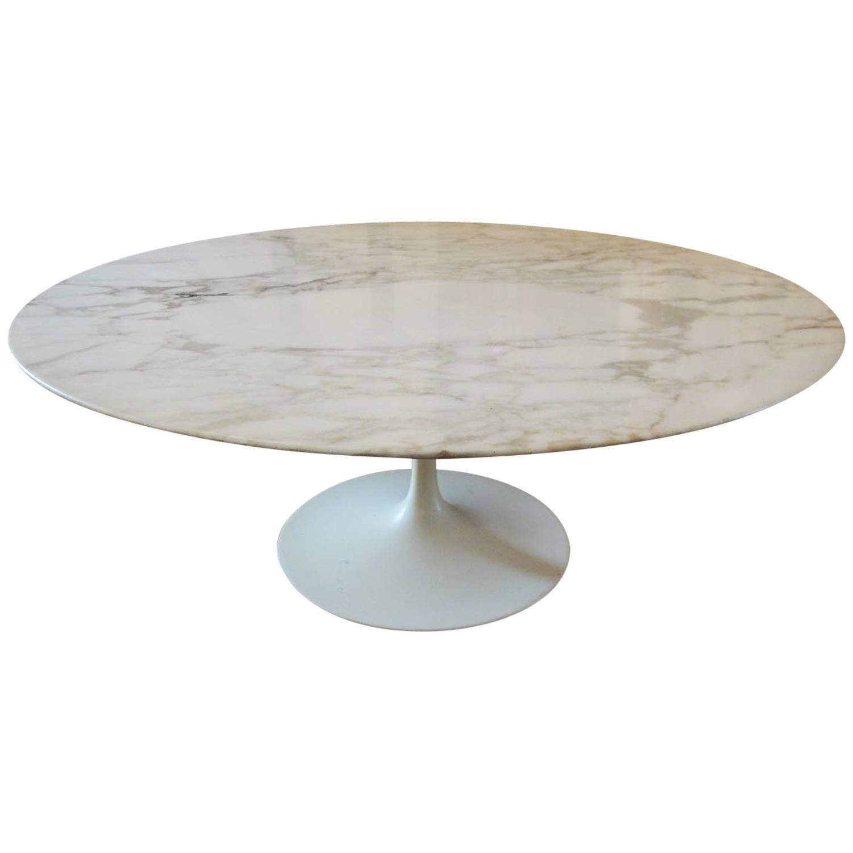 Eero Saarinen Round Marble Knoll Tulip Cocktail Table