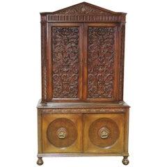 Oak Carved Tudor Style China Closet/Bar