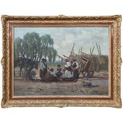 Antique Framed Oil Painting on Canvas by Silvio Rossi