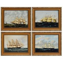 Clipper Ships of Amerika nach Originalgemälde Nautische Segelschiffe Gerahmte Tafeln