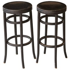 Pair of Original Thonet Black Bentwood Bar Stools