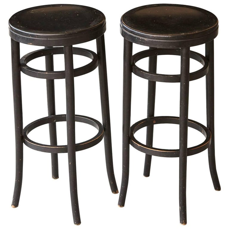Pair Of Original Thonet Black Bentwood Bar Stools For Sale