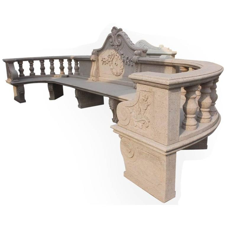Very Large Classical Style Crescent Shaped Granite Bench For Sale