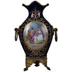 Rare Sevre Prunk Vase Cobalt and Watteau Painting, 1860-1880