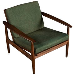 1960s Grete Jalk Style Sofabed and Armchair in Teak and Green Fabric