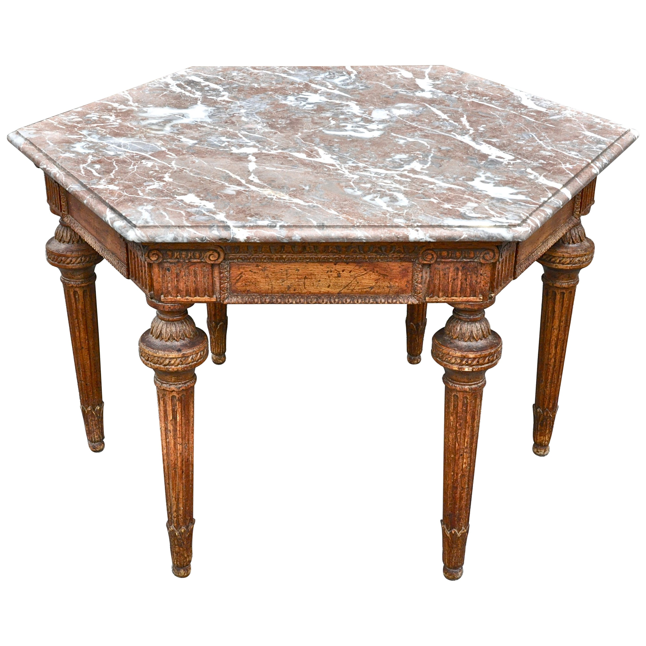 19th Century French Neoclassical Hexagonal Centre Table with Marble Top