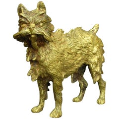 Early 20th Century Signed Vienna Gilt Bronze Model of a Brussels Griffon
