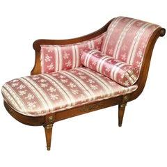 Diminutive Jansen Style Regency Style Carved Walnut Recamier Daybed