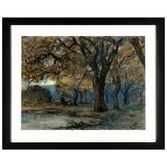 Jean Villeri, Watercolor and Chalk Landscape on Paper