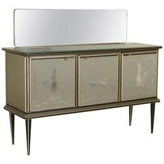 Sideboard by Umberto Mascagni Wood Skai Glass Brass Vintage, Italy, 1950s