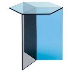 Isom Tall Multicolor Side Table Tempered Glass