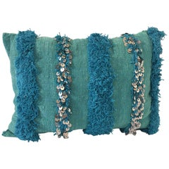 Moroccan Aqua Blue Pillow with Silver Sequins and Long Fringes