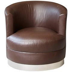 Chocolate Brown Leather Swivel Club Chair in the Style of Karl Springer