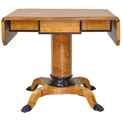 Swedish Karl Johan Biedermeier Writing or Sofa Table in Birch, ca. 1820