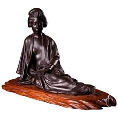 Meiji Bronze Figurine of a Reclining Japanese Lady