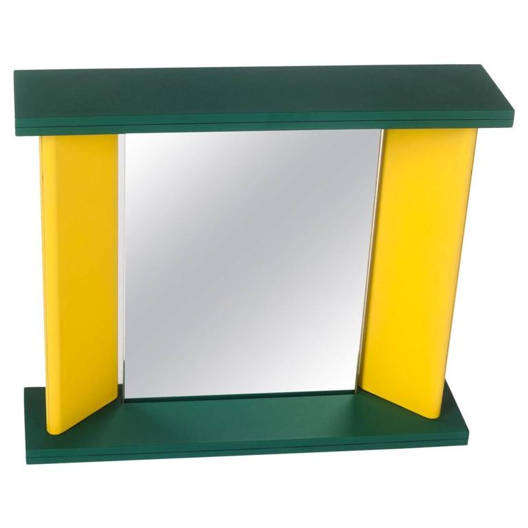 Memphis Green Yellow Table Mirror by Marco Zannini, 1990s For Sale