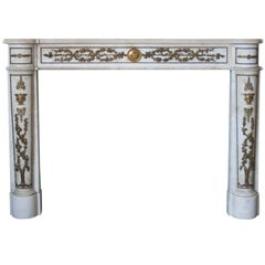 Empire Style Marble Mantlepiece with Fine Ormolu Detailing