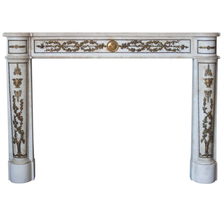Empire Style Marble Mantlepiece with Fine Ormolu Detailing For Sale