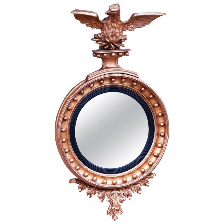 Antique Regency Giltwood Convex Mirror