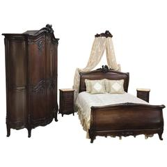 19th Century French Louis XV Walnut Five-Piece Bedroom Suite
