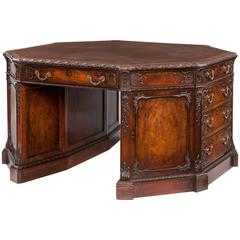 English Mahogany and Leather Octagonal Library Desk, 19th Century