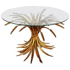 Regency Coco Chanel Table with Gilt Wheat, Italy, 1970s