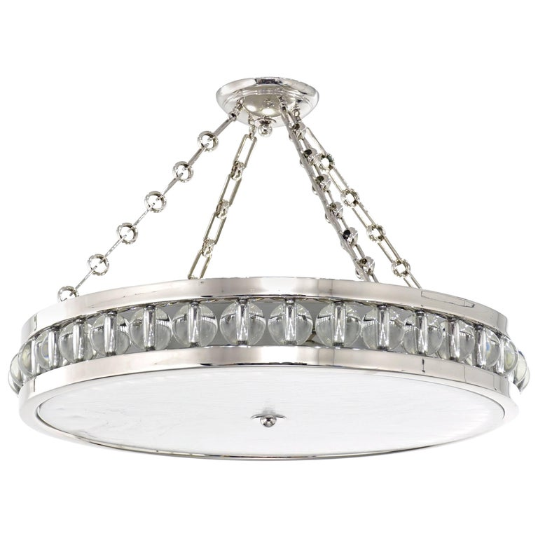 "A 30"" Tambour Pendant Fixture with Chain For Sale"