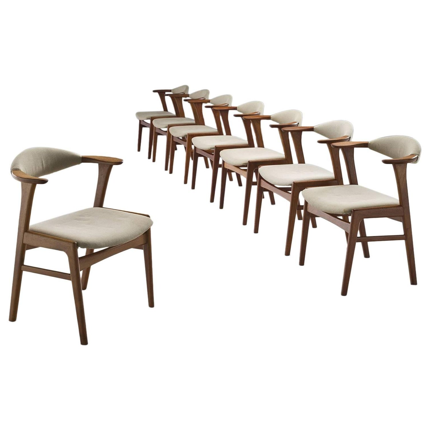 Of four chairs in oak and patinated cognac leather for sale at 1stdibs - Erik Kirkegaard Set Of Eight Teak Dining Chairs