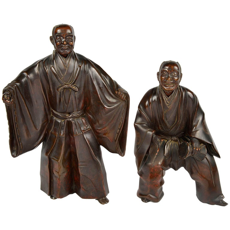 Pair of Japanese Bronze Meiji Period Figures