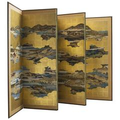 Japonism Gold Leaf Room Divider, 1940s