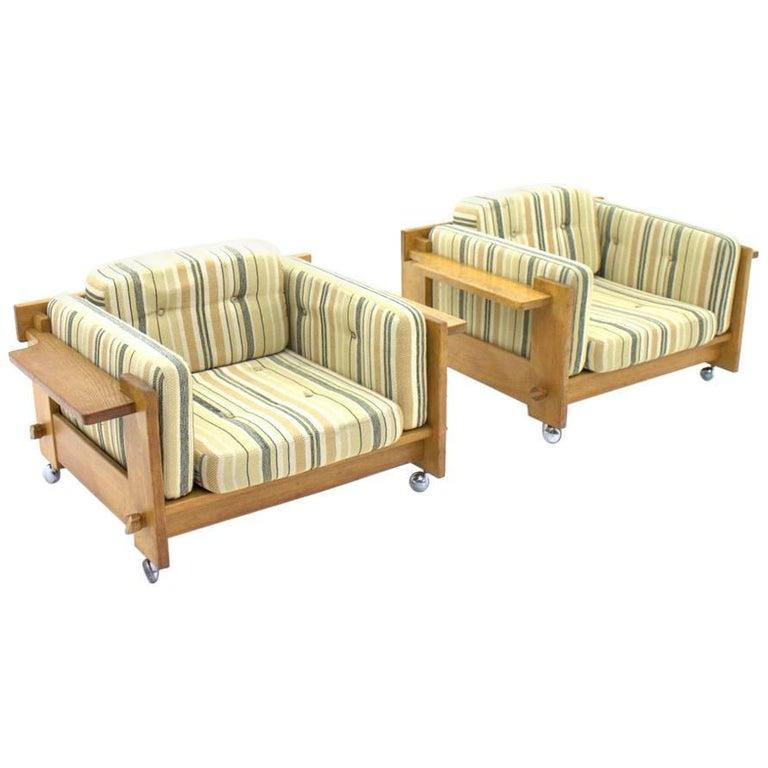 Yngve Ekström Lounge Chairs in Oak for Swedese, Sweden 1960s