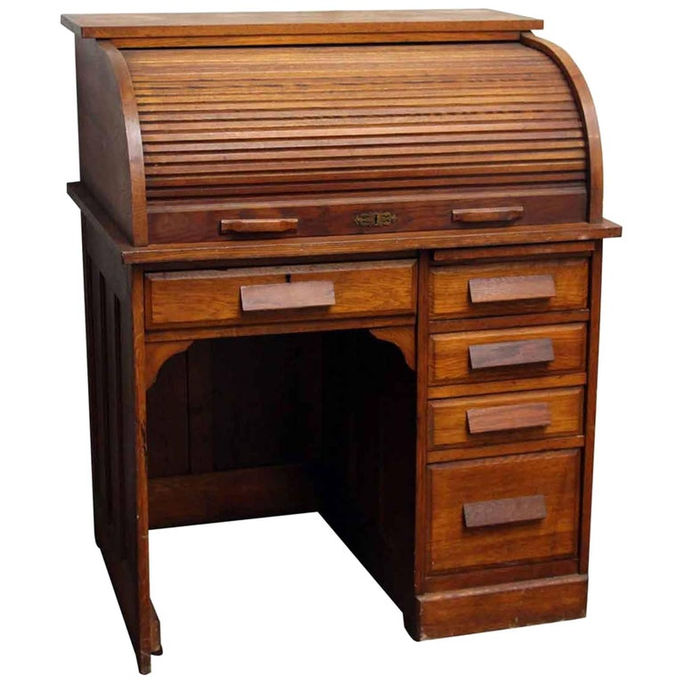Oak Desk With Drawers ~ S solid oak roll top desk with recessed panels and
