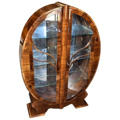 Original Art Deco English Walnut Oval Display Cabinet