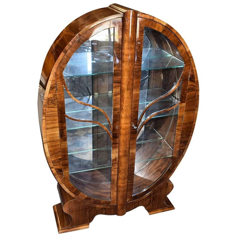 Original Art Deco English Walnut Oval Display Cabinet For Sale