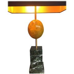 Maison Charles Yellow Resin Egg Lamp on Marble Base