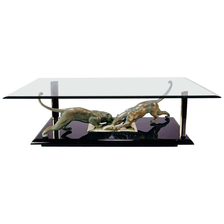 Rare 1970s Italian Coffee Table with Gilt Bronze Sculpture of Panthers
